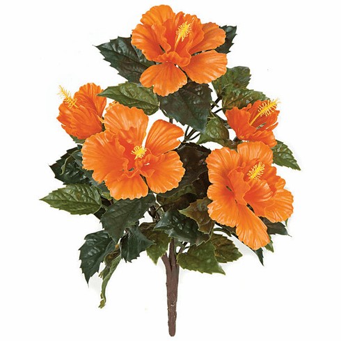 "21"" Outdoor Artificial Polyblend Hibiscus Flower Bush - Set of 12 - UV INfused"