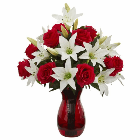 "21"" Roses & Lilies Artificial Arrangement in Red Vase"