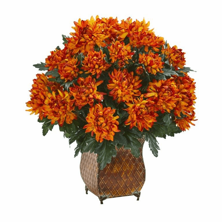 "21"" Spider Mum Artificial Plant in Metal Planter"