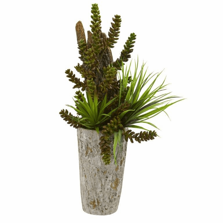 "21"" Succulent and Grass Garden Artificial Plant in Weathered Planter"