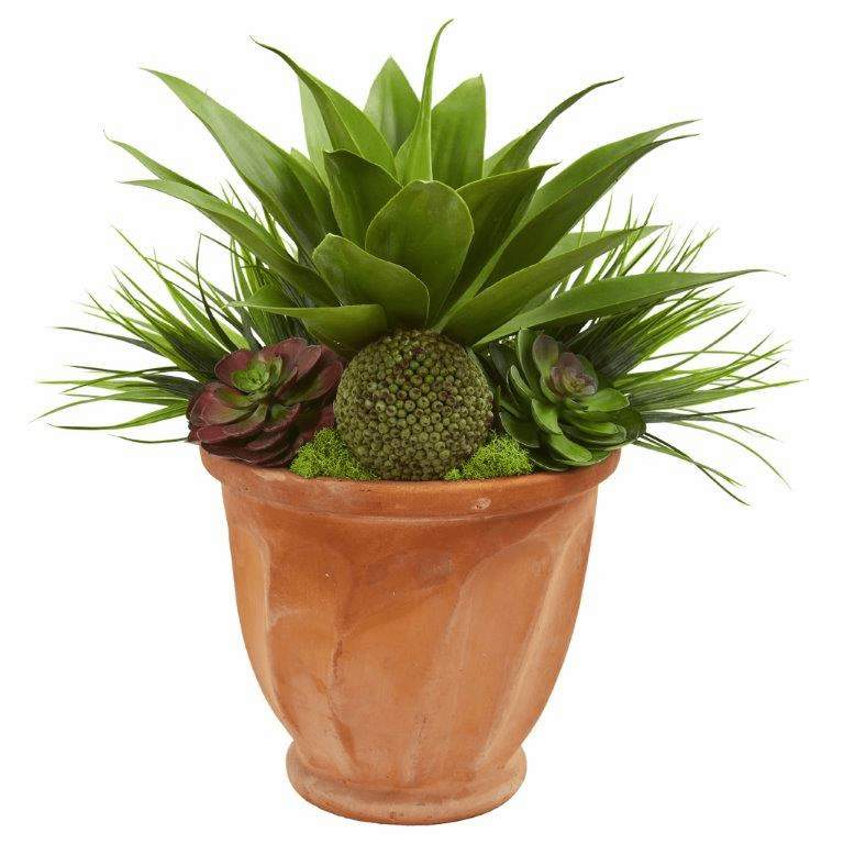 "21"" Succulent Garden Artificial Plant in Terra Cotta Planter"