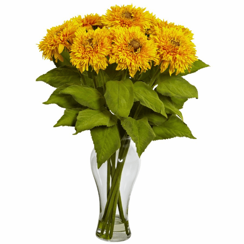 "22.5"" Sunflower Arrangement with Vase - Yellow"