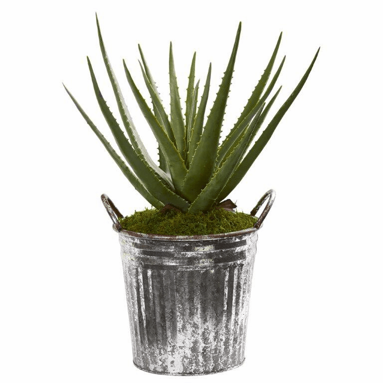 22� Aloe Artificial Plant in Vintage Metal Pail