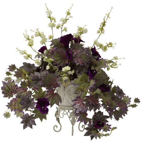 """22"""" Artifical Morning Glory & Cherry Blossoms Silk Plant Arrangement with Metal Planter"""