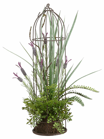 "22"" Artificial Lavender and Fern Plant Arrangement in Metal Birdcage - Set of 2"