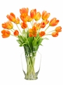 "22"" Artificial Silk Tulip Arrangement in Glass Vase"