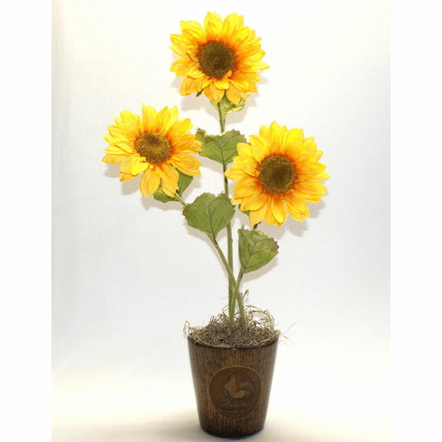 "22"" Artificial Sunflower Arrangement in Ceramic Rooster Motif Pot"