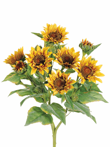 """22"""" Artificial Sunflower Bush with 9 Blooms - Set of 4"""