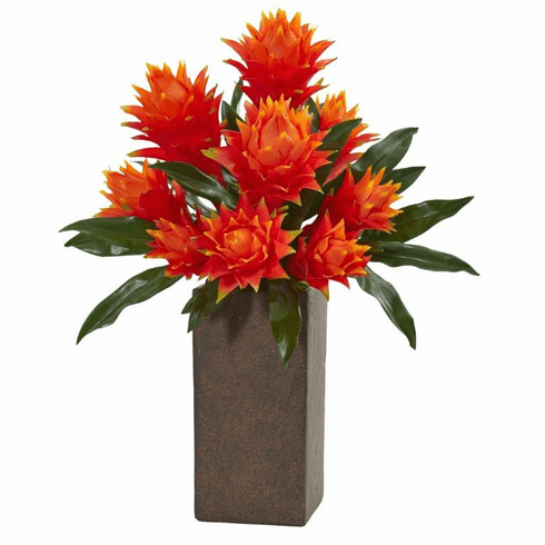 "22"" Bromeliad Artificial Plant in Weathered Brown Planter"