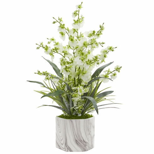 "22"" Dancing Lady Orchid Artificial Arrangement in Marble Finished Vase  - Green"