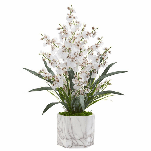 "22"" Dancing Lady Orchid Artificial Arrangement in Marble Finished Vase  - White"