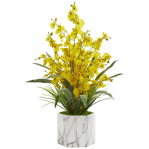 """22"""" Dancing Lady Orchid Artificial Arrangement in Marble Finished Vase  - Yellow"""