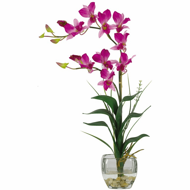 "22"" Dendrobium w/Glass Vase Silk Flower Arrangement"