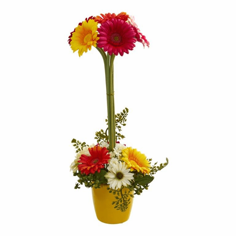"22"" Gerber Daisy Artificial Arrangement in Ceramic Vase - Assorted"