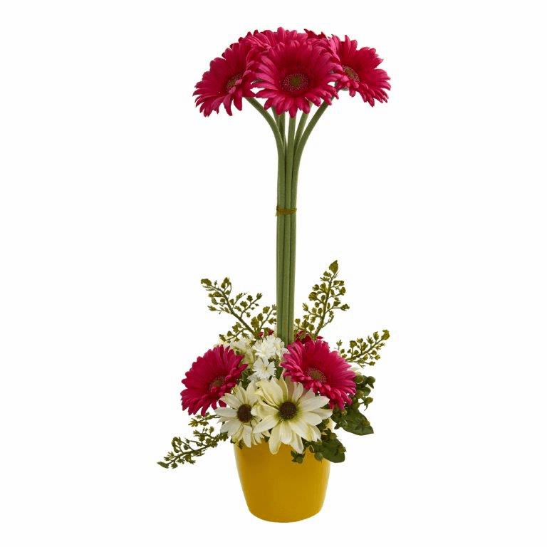"22"" Gerber Daisy Artificial Arrangement in Ceramic Vase - Beauty"