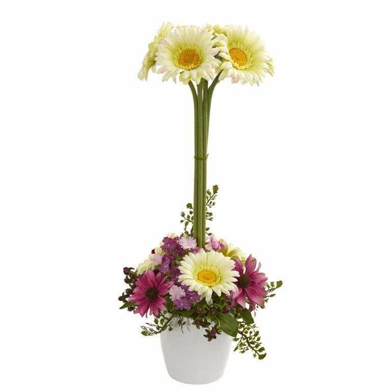 "22"" Gerber Daisy Artificial Arrangement in Ceramic Vase - Cream"