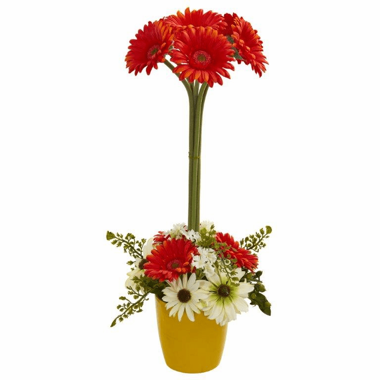 "22"" Gerber Daisy Artificial Arrangement in Ceramic Vase - Orange"