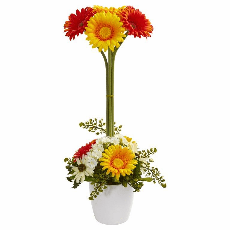 "22"" Gerber Daisy Artificial Arrangement in Ceramic Vase - Orange Yellow"