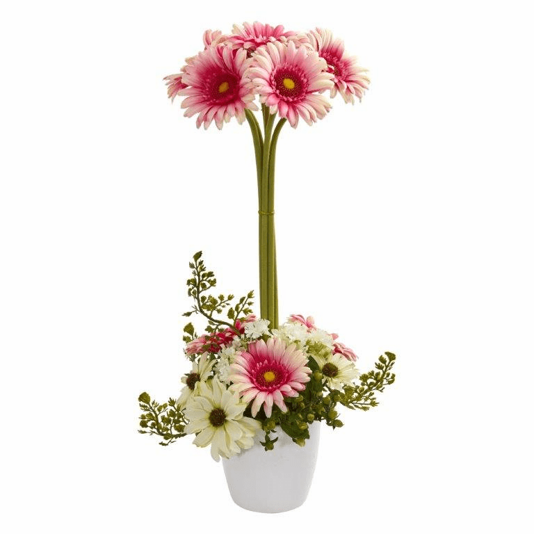 "22"" Gerber Daisy Artificial Arrangement in Ceramic Vase - Pink"