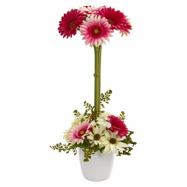 "22"" Gerber Daisy Artificial Arrangement in Ceramic Vase - Pink Mauve"