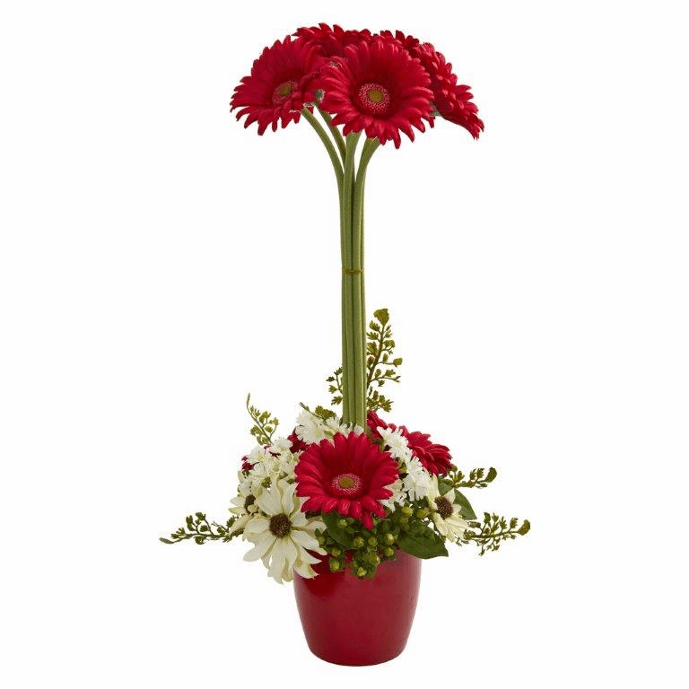 "22"" Gerber Daisy Artificial Arrangement in Ceramic Vase - Red"