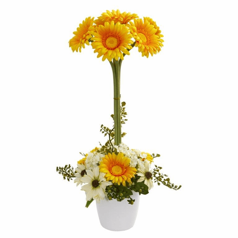 "22"" Gerber Daisy Artificial Arrangement in Ceramic Vase - Yellow"