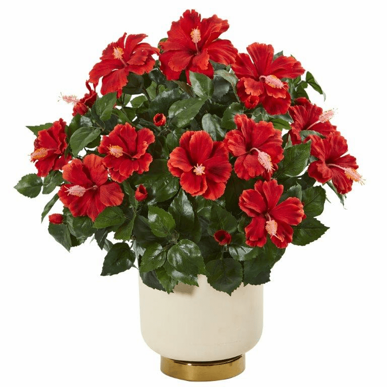 22� Hibiscus Artificial Plant in White Bowl
