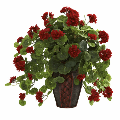 22 inch Artificial Geranium Silk Flower Arrangement with Decorative Planter
