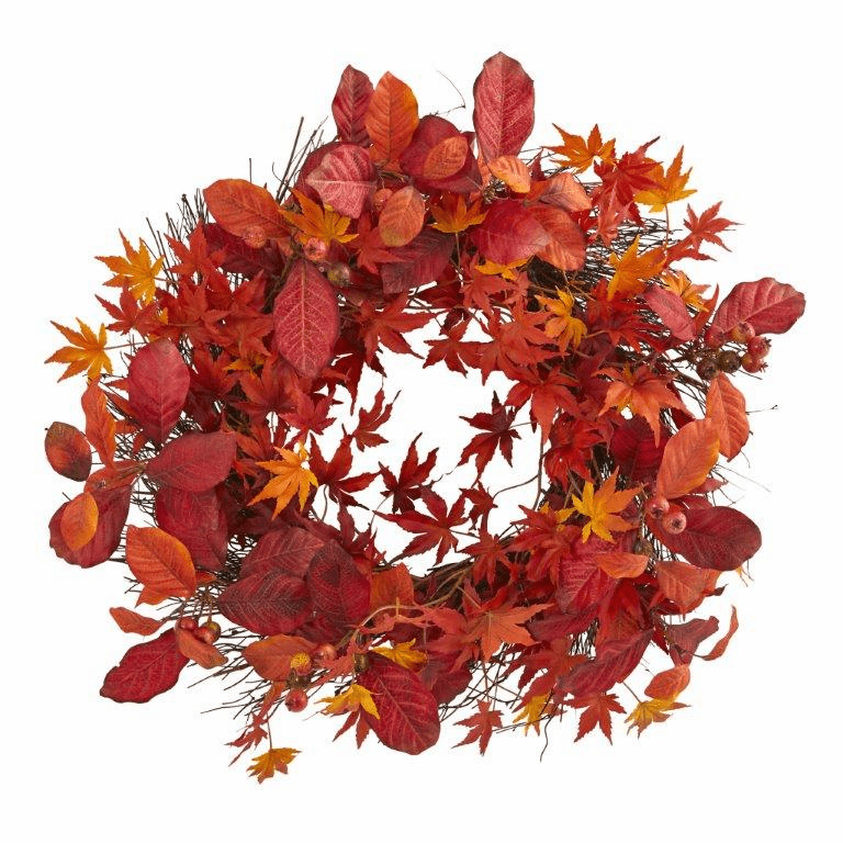 22� Japanese Maple, Magnolia Leaf and Berries Artificial Wreath