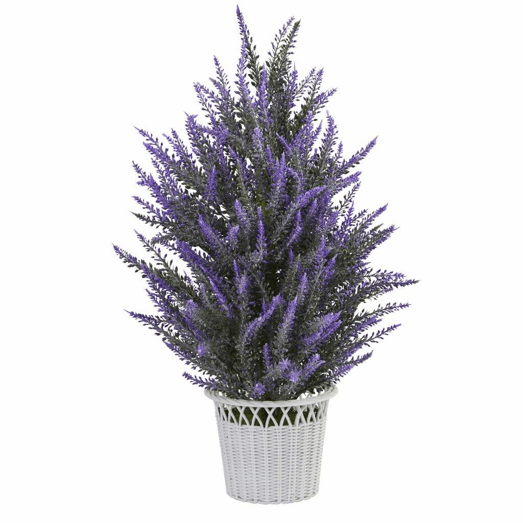 "22"" Lavender Bush in White Planter Artificial Plant"