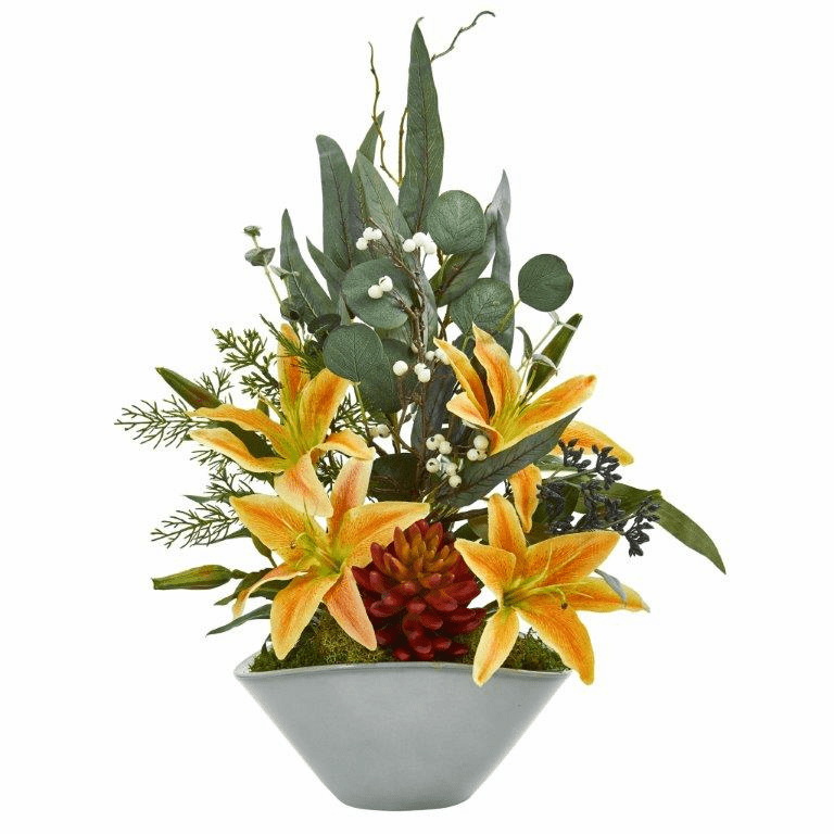 22� Lilies, Succulent and Eucalyptus Artificial Arrangement