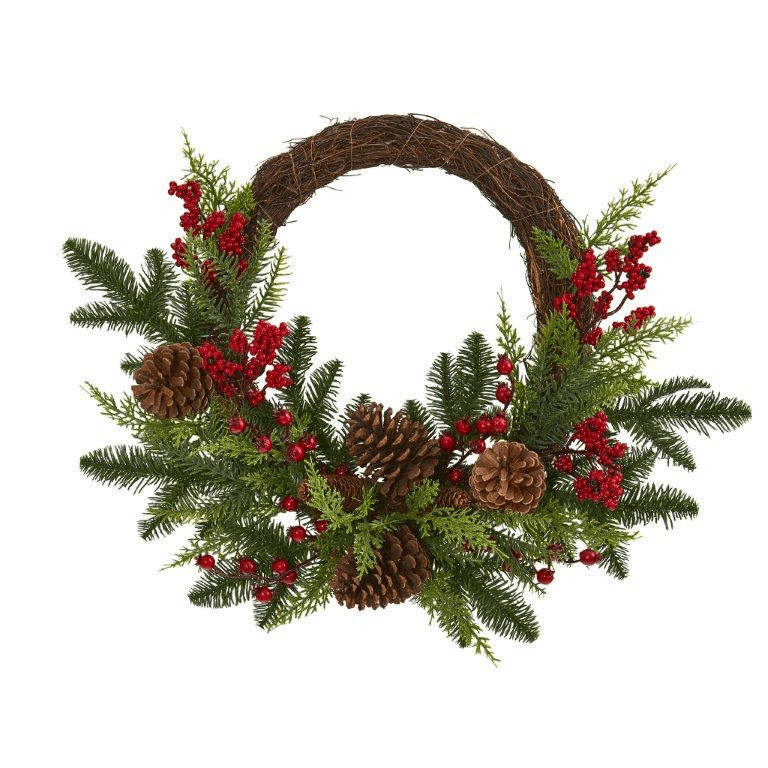 22� Mixed Pine and Cedar with Berries and Pine Cones Artificial Wreath  -