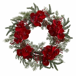 """22""""  Orchid,  Berry & Pine Holiday Wreath"""