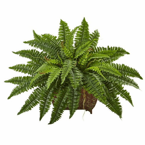 "23"" Artificial Boston Fern Bush in Metallic Planter"