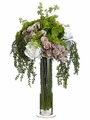 "23"" Artificial Hydrangea, Rose and Mixed Silk Flower Bouquet Arrangement in Glass Vase"