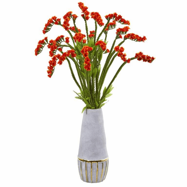 23� Baby Breath Artificial Arrangement in Oval Vase with Gold Trimming - Orange