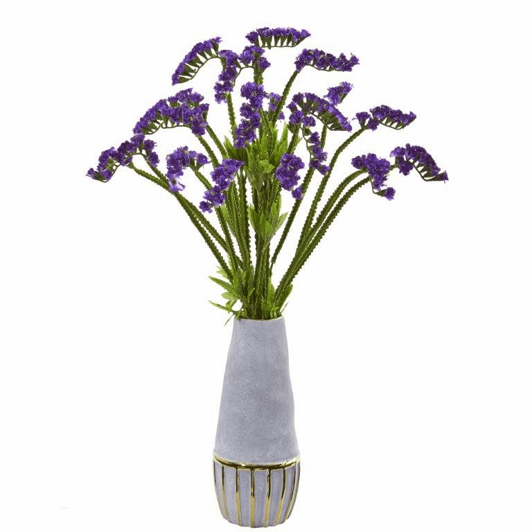 23� Baby Breath Artificial Arrangement in Oval Vase with Gold Trimming - Purple