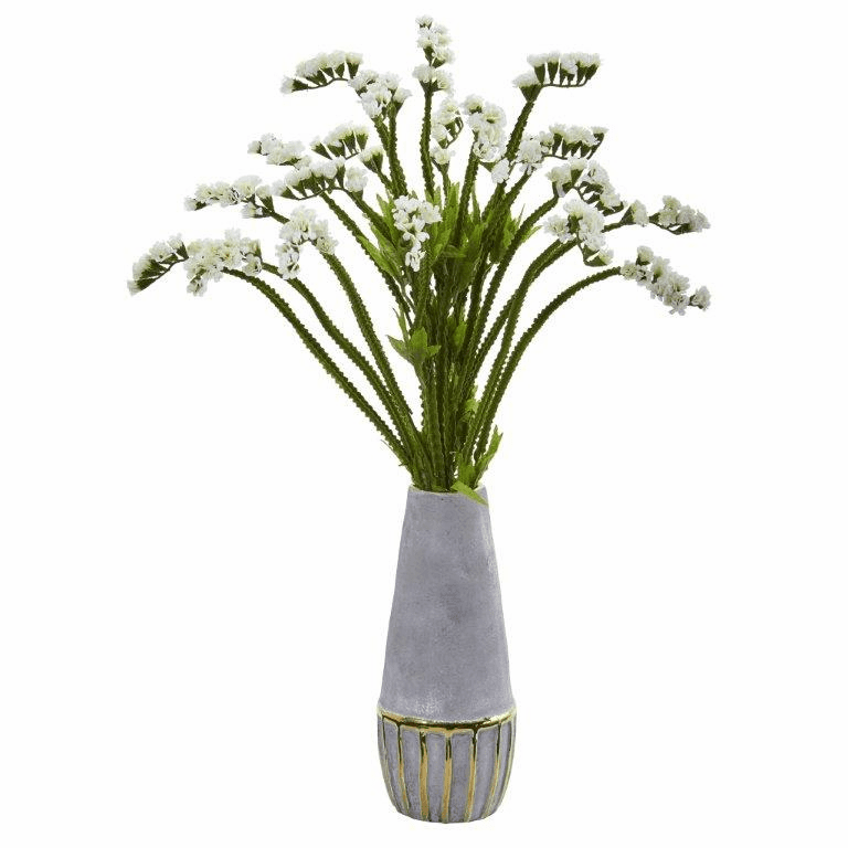 23� Baby Breath Artificial Arrangement in Oval Vase with Gold Trimming - White