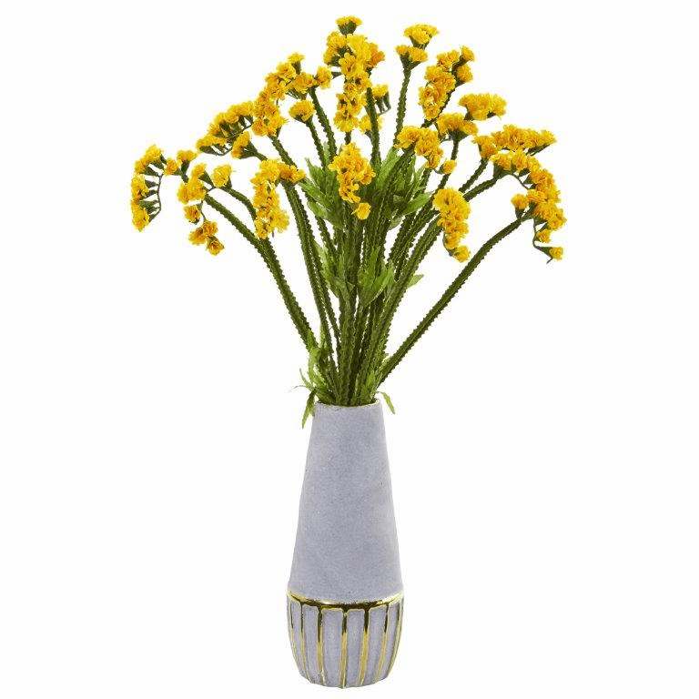 23� Baby Breath Artificial Arrangement in Oval Vase with Gold Trimming - Yellow