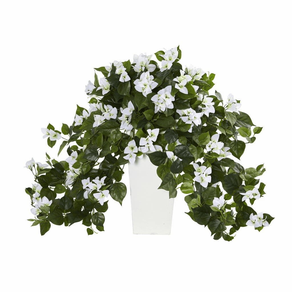 "23"" Bougainvillea Artificial Plant in White Tower Planter"