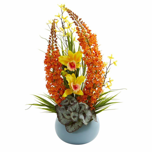 "23"" Cattleya Orchid and Fox Tail Artificial Arrangement in Blue Vase"