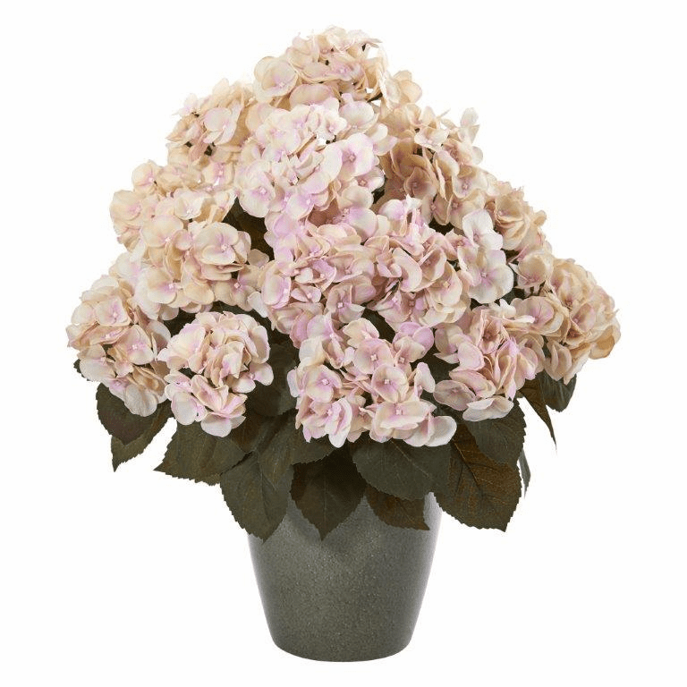 23� Fall Hydrangea Artificial Plant in Green Planter - Cream Pink