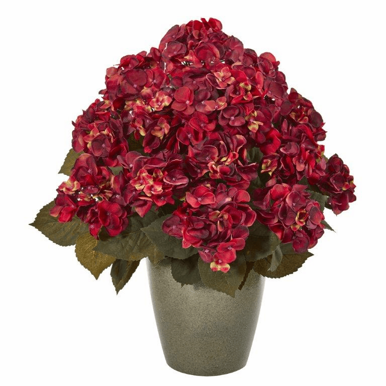 23� Fall Hydrangea Artificial Plant in Green Planter - Rust