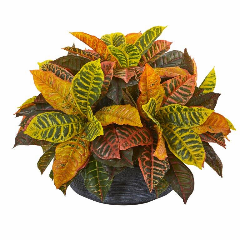 23� Garden Croton Artificial Plant in Decorative Bowl (Real Touch)