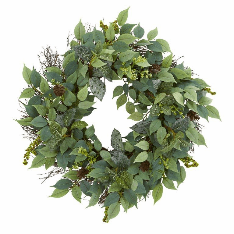 23� Mix Royal Ruscus, Fittonia and Berries Artificial Wreath