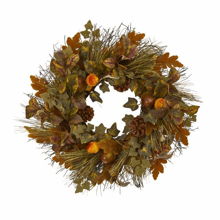 23� Mixed Fall Leaf, Pinecone and Acorn Artificial Wreath