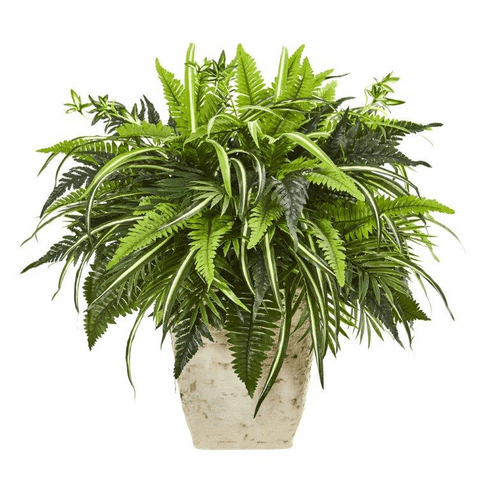 "23"" Mixed Greens and Fern Artificial Plant in White Planter"