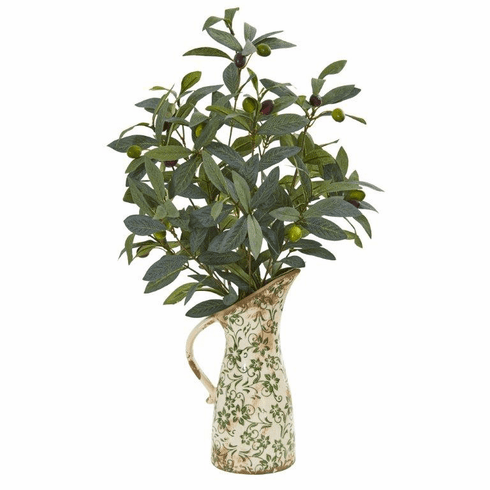 """23"""" Olive Artificial Plant in Vase in Floral Pitcher"""