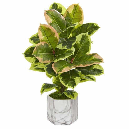 "23"" Rubber Leaf Artificial Plant in Marble Finished Vase (Real Touch)"