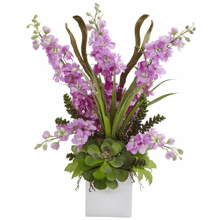 "23"" Silk Delphinium and Artificial Succulent Arrangement - Lavender"